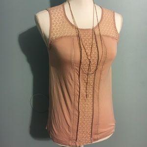 Loft peachy soft tank with crochet sleeves